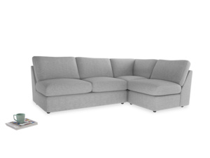 Large right hand Chatnap modular corner sofa bed in Mist cotton mix