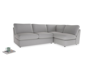 Large right hand Chatnap modular corner sofa bed in Flint brushed cotton
