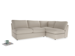 Large right hand Chatnap modular corner sofa bed in Buff brushed cotton
