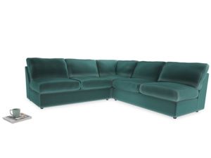 Even Sided  Chatnap modular corner storage sofa in Real Teal clever velvet