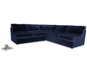 Even Sided  Chatnap modular corner storage sofa in Midnight plush velvet