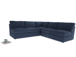Even Sided  Chatnap modular corner storage sofa in Navy blue brushed cotton