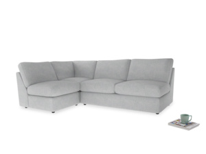 Large left hand Chatnap modular corner storage sofa in Pebble vintage linen