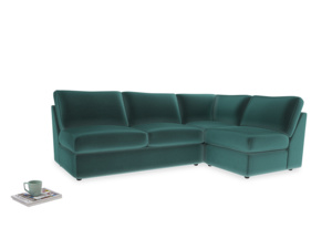 Large right hand Chatnap modular corner storage sofa in Real Teal clever velvet