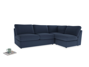 Large right hand Chatnap modular corner storage sofa in Navy blue brushed cotton