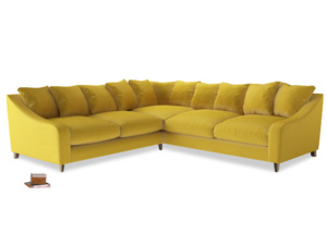 Even Sided Oscar Corner Sofa  in Bumblebee clever velvet