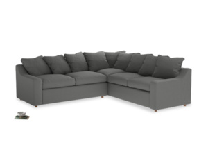 Even Sided Cloud Corner Sofa in French Grey brushed cotton