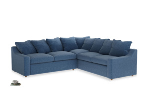Even Sided Cloud Corner Sofa in Hague Blue cotton mix