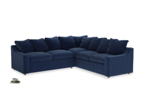 Even Sided Cloud Corner Sofa in Ink Blue wool