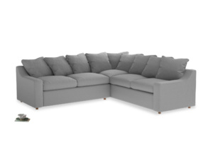 Even Sided Cloud Corner Sofa in Magnesium washed cotton linen