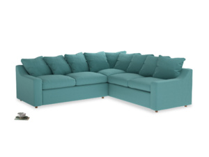 Even Sided Cloud Corner Sofa in Peacock brushed cotton