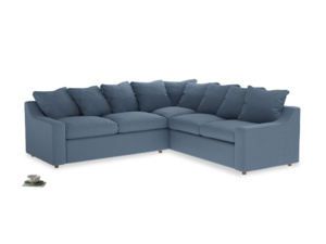 Even Sided Cloud Corner Sofa in Nordic blue brushed cotton