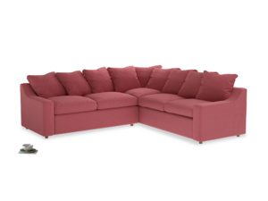 Even Sided Cloud Corner Sofa in Raspberry brushed cotton