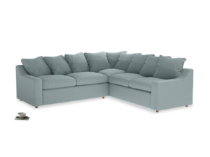 Even Sided Cloud Corner Sofa in Smoke blue brushed cotton