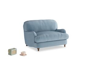 Jonesy Love seat in Chalky blue vintage velvet