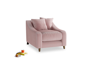 Oscar Armchair in Chalky Pink vintage velvet