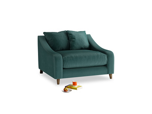Oscar Love seat in Timeless teal vintage velvet