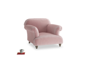 Soufflé Armchair in Chalky Pink vintage velvet