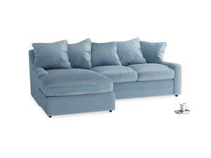 Large left hand Cloud Chaise Sofa in Chalky blue vintage velvet