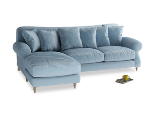 XL Left Hand  Crumpet Chaise Sofa in Chalky blue vintage velvet