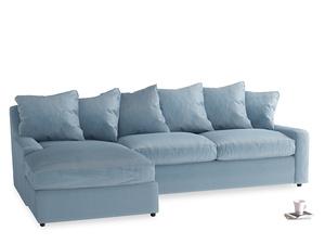 XL Left Hand  Cloud Chaise Sofa in Chalky blue vintage velvet