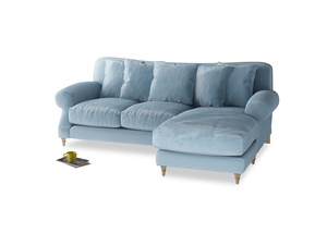 Large right hand Crumpet Chaise Sofa in Chalky blue vintage velvet