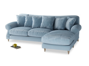 XL Right Hand  Crumpet Chaise Sofa in Chalky blue vintage velvet