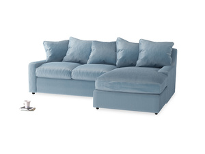 Large right hand Cloud Chaise Sofa in Chalky blue vintage velvet