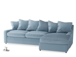 XL Right Hand  Cloud Chaise Sofa in Chalky blue vintage velvet