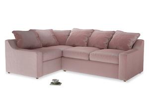Large Left Hand Cloud Corner Sofa in Chalky Pink vintage velvet