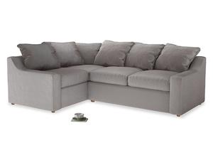 Large Left Hand Cloud Corner Sofa in Soothing grey vintage velvet