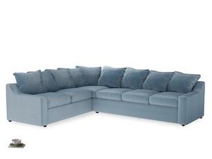 Xl Left Hand Cloud Corner Sofa in Chalky blue vintage velvet
