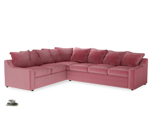 Xl Left Hand Cloud Corner Sofa in Blushed pink vintage velvet