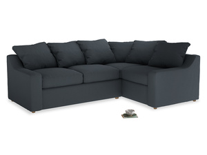 Large Right Hand Cloud Corner Sofa in Lava grey clever linen
