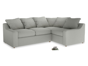Large Right Hand Cloud Corner Sofa in Mineral grey clever linen