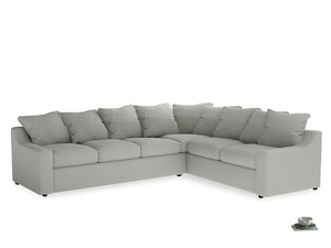 Xl Right Hand Cloud Corner Sofa in Mineral grey clever linen