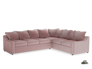 Xl Right Hand Cloud Corner Sofa in Chalky Pink vintage velvet