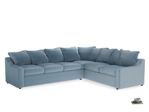 Xl Right Hand Cloud Corner Sofa in Chalky blue vintage velvet