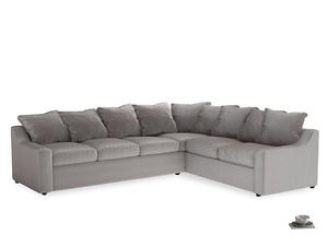 Xl Right Hand Cloud Corner Sofa in Soothing grey vintage velvet