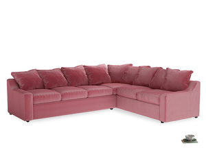 Xl Right Hand Cloud Corner Sofa in Blushed pink vintage velvet