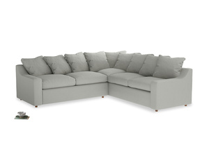 Even Sided Cloud Corner Sofa in Mineral grey clever linen