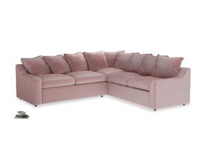Even Sided Cloud Corner Sofa in Chalky Pink vintage velvet