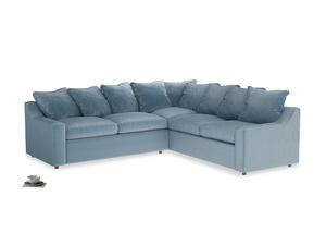 Even Sided Cloud Corner Sofa in Chalky blue vintage velvet