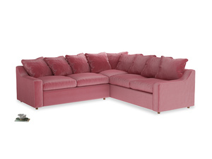 Even Sided Cloud Corner Sofa in Blushed pink vintage velvet