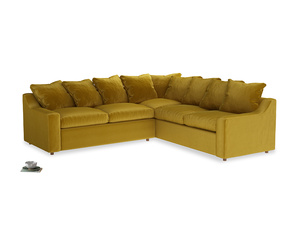 Even Sided Cloud Corner Sofa in Burnt yellow vintage velvet