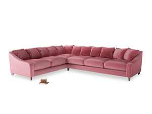 Xl Left Hand Oscar Corner Sofa  in Blushed pink vintage velvet