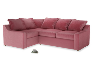 Large left hand Cloud Corner Sofa Bed in Blushed pink vintage velvet