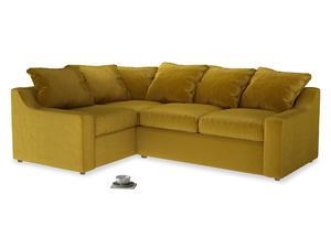 Large left hand Cloud Corner Sofa Bed in Burnt yellow vintage velvet