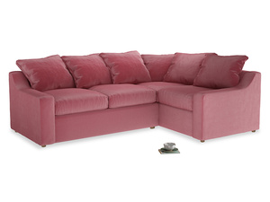 Large right hand Cloud Corner Sofa Bed in Blushed pink vintage velvet