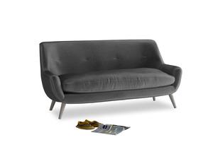 Medium Berlin Sofa in Scuttle grey vintage velvet